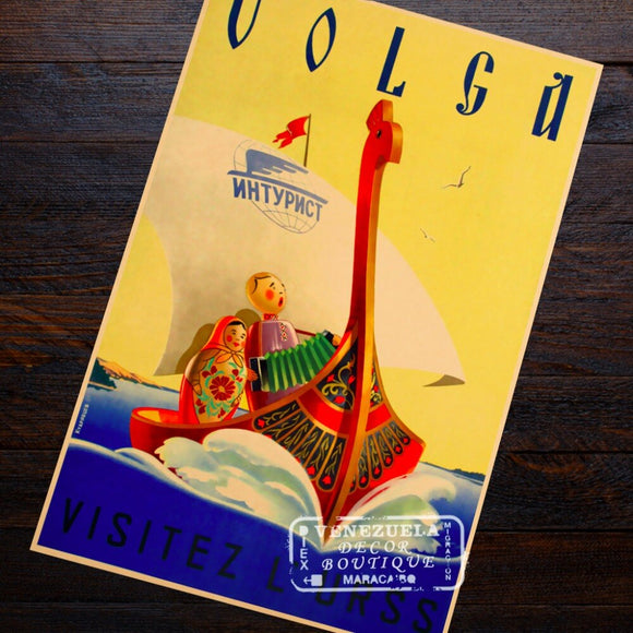 Volga Russia Beauty USSR Soviet Travel Landscape View Communism Retro Vintage Poster Canvas Painting Wall Art Home Posters Decor