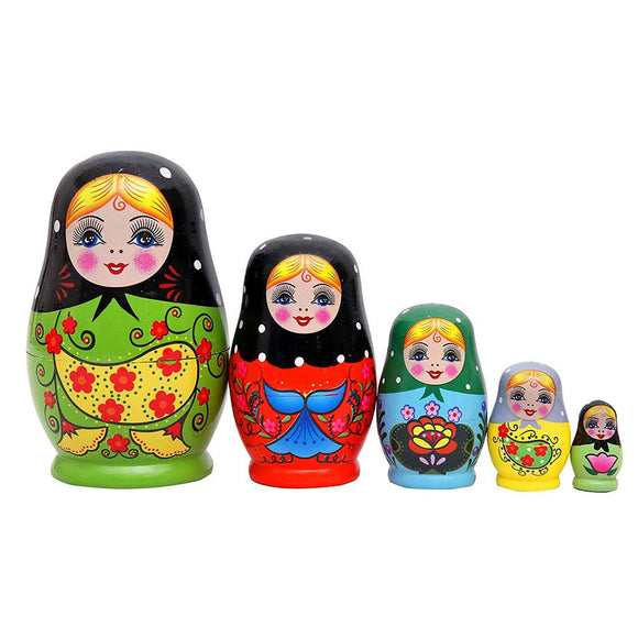 5Pcs/Set Flower Print Russian Nesting Dolls Matryoshka Wooden Handmade Toy Craft New