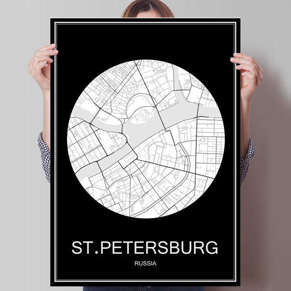Black White City Map of ST.PETERSBURG Russia Print Poster Print on Paper or Canvas Wall Sticker Bar Cafe Living Room Home Decor