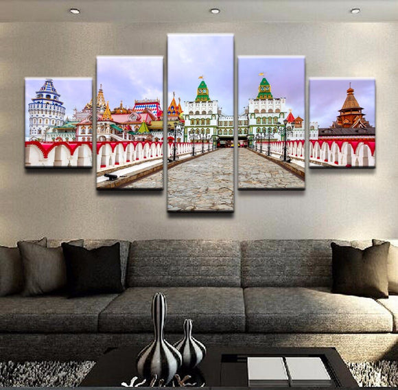 Canvas HD Prints Pictures Home Decor Framework 5 Pieces Building City Kremlin Moscow Russia Posters For Living Room Wall Art