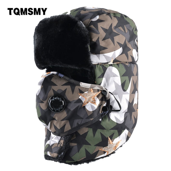 TQMSMY Camouflage hat men bomber hats winter cap masks thick warm ear flaps bone russian outdoor snow caps man gorros