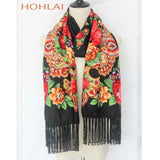 2018 Russia New Fashion Women Tassel Poncho Long Scarf Luxury Brand Floral Printed Autumn and Winter Female Cape Foulard Scarves