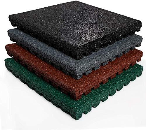 1 m² Fall Protection Mats in a Set | TÜV and Pollutant Tested | Thickness 43 mm | for Playground and Garden | 50x50 cm | Green