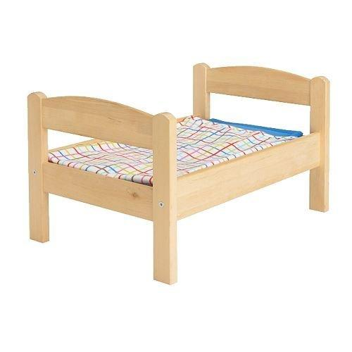 1 X Ikea's DUKTIG Doll bed with bedlinen set, pine, multicolor by IKEA