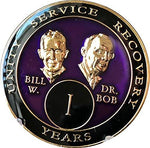 1 year AA Medallion Purple Tri-Plate Founders Bill & Bob Chip
