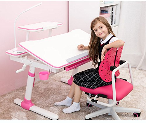 1 Meter Height Adjustable Study Table for Kids, Youth or Adult. Children Ergonomic Study Desk with Bookshelf. Tilt-able Desktop, Pull-out Drawer. Model: E501 Pink (Desk+Bookshelf+Bookholder).