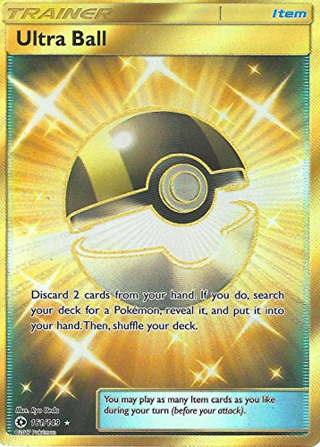 1 x Pokemon Sun & Moon Holo Full Art Secret Rare Card Ultra Ball 161/149