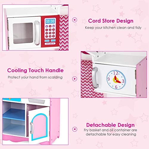 COSTWAY Large Girls Kids Pink Play Kitchen Set, Wooden Children\'s Role Toy  Kitchen Playsets with Four Lovely Locker, Mini Simulation Faucet, Washing  ...