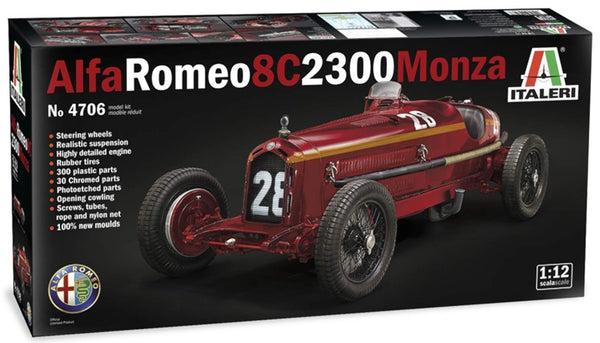 1/12th Scale 1:12 1930'3 Grand Prix Racing Alfa Romeo 8C 2300 Monza model kit by Italeri.