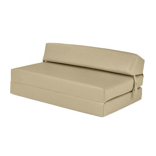 Cream Faux Leather Double Fold Out Foam Z Bed Guest Mattress Sofa Bed