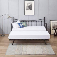 Black, Trundle Only Twin Size Daybed and Trundle Multifunctional MECOR Manila Metal Daybed and Trundle