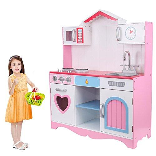 Muguang Kids Children Girls Role Wooden Kitchen Pretend Cooking Play Toys For 3 9 Age Pink