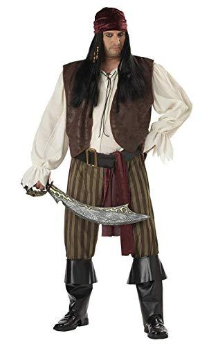 Rogue Pirate Plus Size Fancy Dress Costume Brown 48