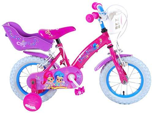 .Shimmer & Shine Girl Bike 12 Inch with Training Wheels Brakes on Handlebar Basket and Doll Carrier 85% Assembled Pink