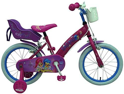 .Shimmer & Shine Girl Bike 16 Inch Front Brake and Rear Brake on Handlebar Basket and Doll Carrier Pink 85% Assembled