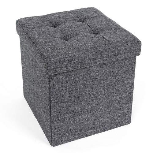 Superb Songmics Storage Ottoman Box Seat Folding Foot Stool Linen Fabric 38 X 38 X 38 Cm Lsf27Z Forskolin Free Trial Chair Design Images Forskolin Free Trialorg