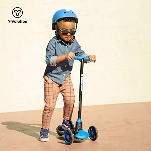 Yvolution Y Glider Deluxe Three Wheel Scooter For Kids With Safety Brake For Children Ages 3 Years And Up Blue