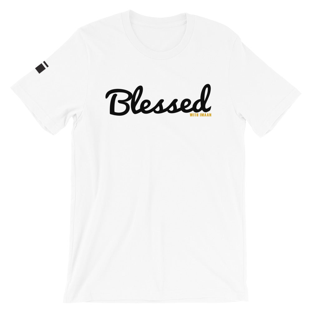 Blessed with Imaan Short-Sleeve Unisex T-Shirt - one love islam