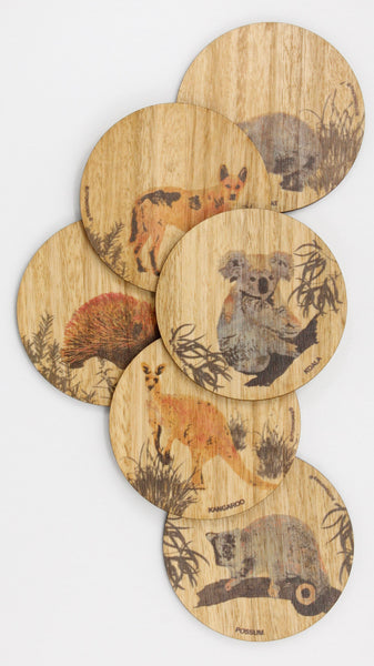 Australian Coloured Animal Coasters - Gifts At The Quay