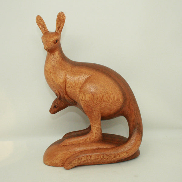 Hand Carved Wooden Kangaroo Large