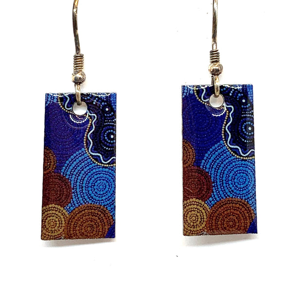 Aboriginal Art Earring - Land And Water