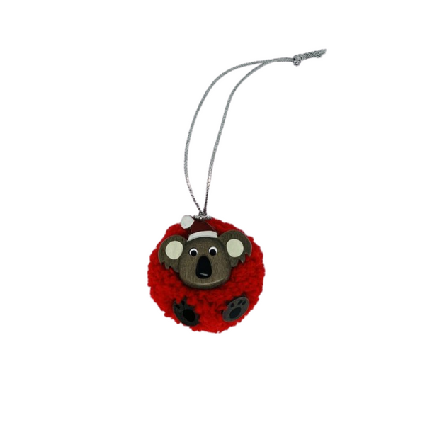 Pompom Koala Christmas Ornamnet - Red