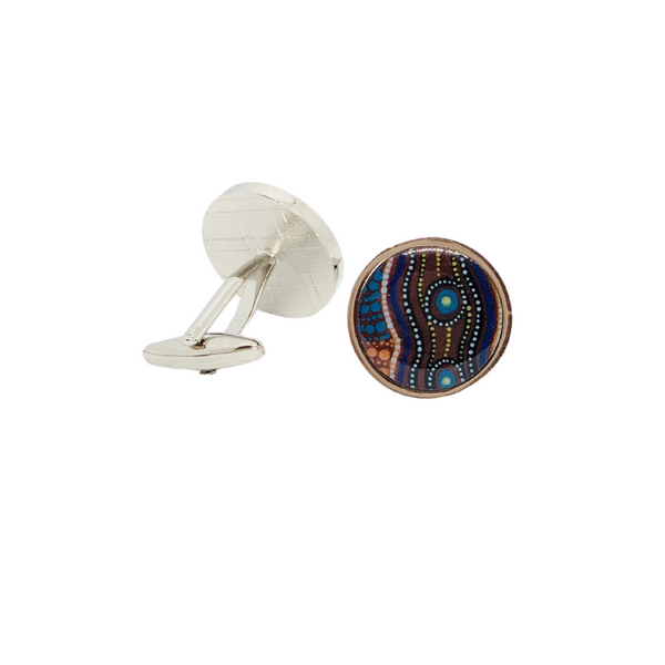 Round Aboriginal Art Cufflinks - Bush Medicine