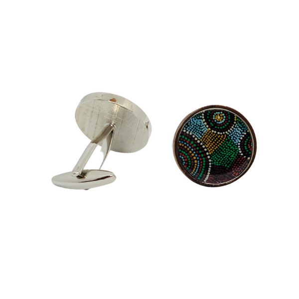 Round Aboriginal Art Cufflinks - Michael Lyons