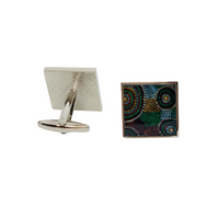 Square Aboriginal Art Cufflinks - Michael Lyons