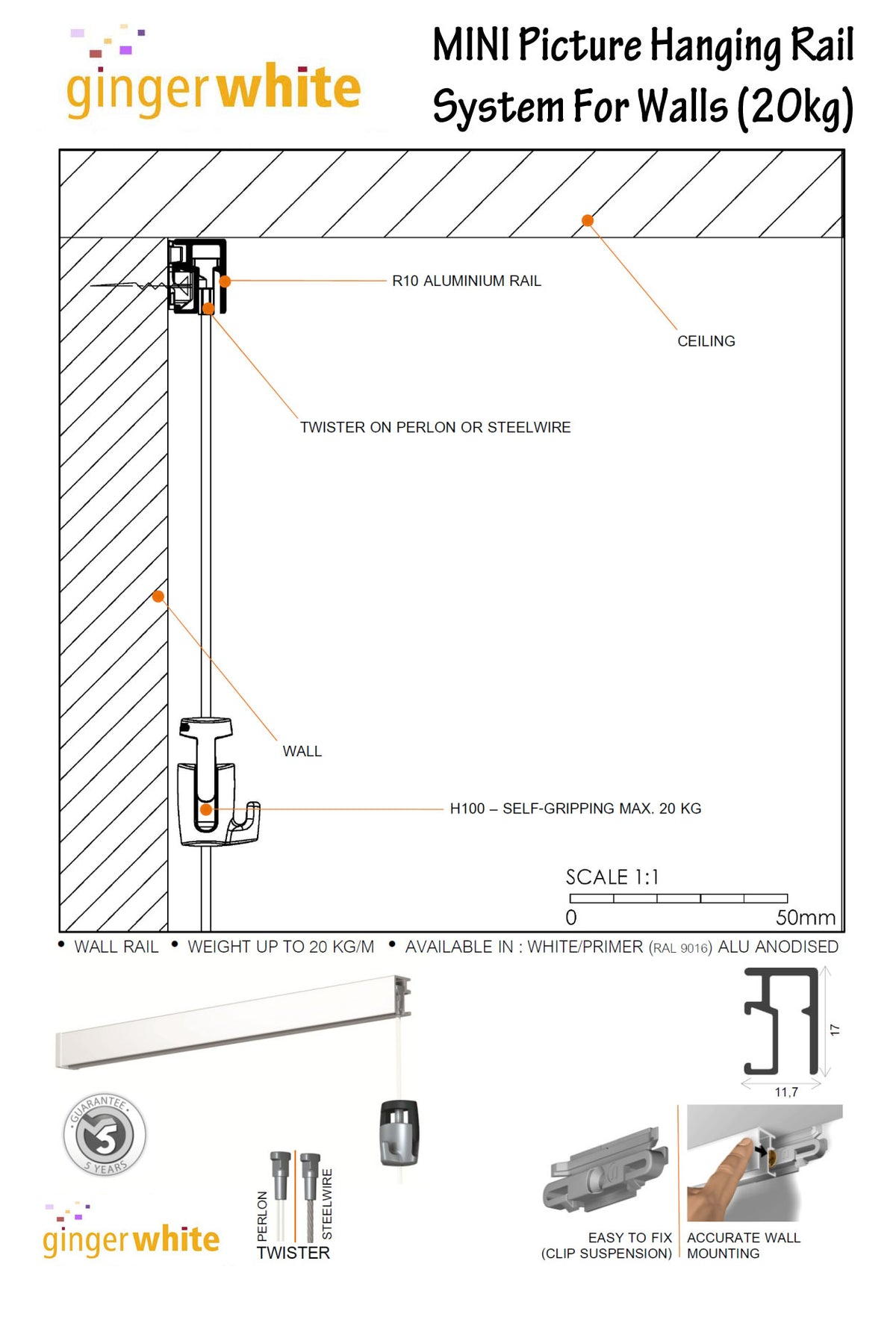 MINI Picture Hanging Rail (Silver, 200cm) inc fittings