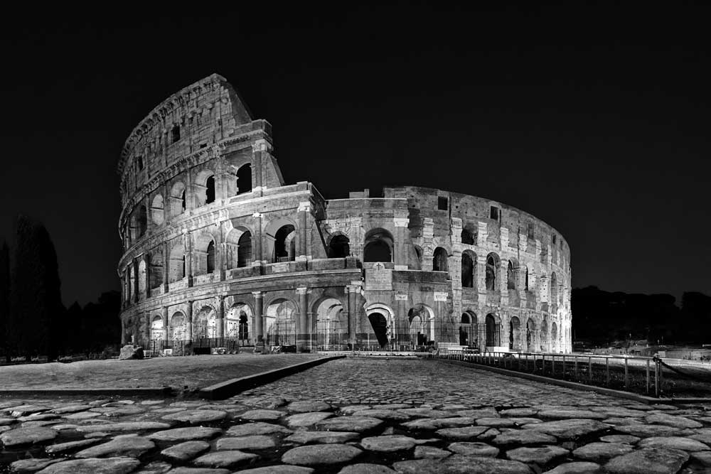 World Heritage (Black and White) - Roman Colosseum at night , Rome, Italy (#AA_WHBW_09)