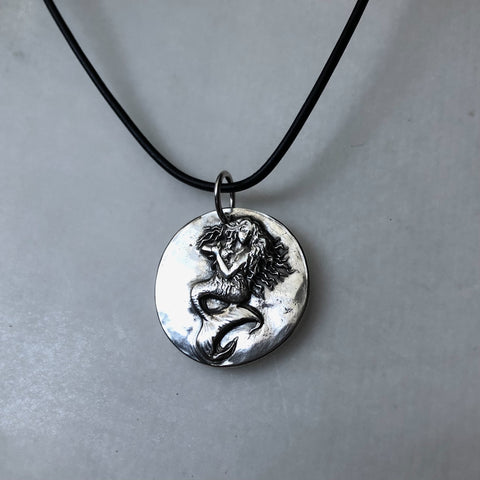 "Limited Edition Silver ""Orpheus and the Mermaids"" Mermaid Necklace"