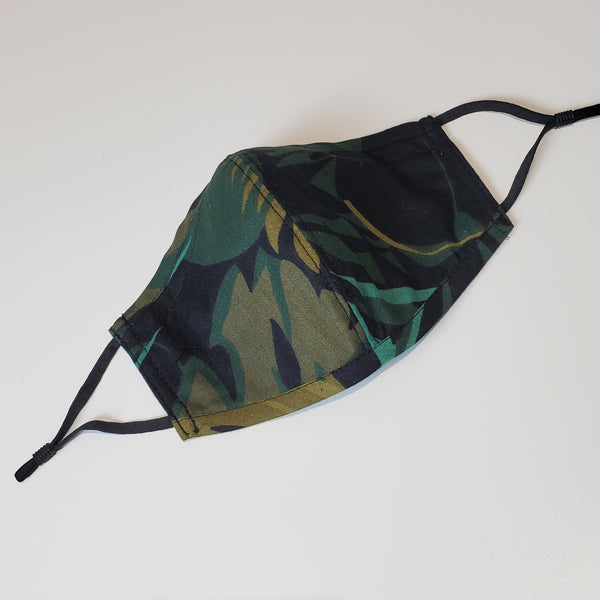 Cotton Contour Mask w/adjustable ear loops - Tropical Camo