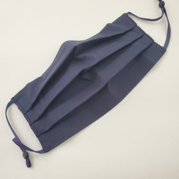 Organic Cotton Poplin Pleated Mask w/adjustable Ear Loops