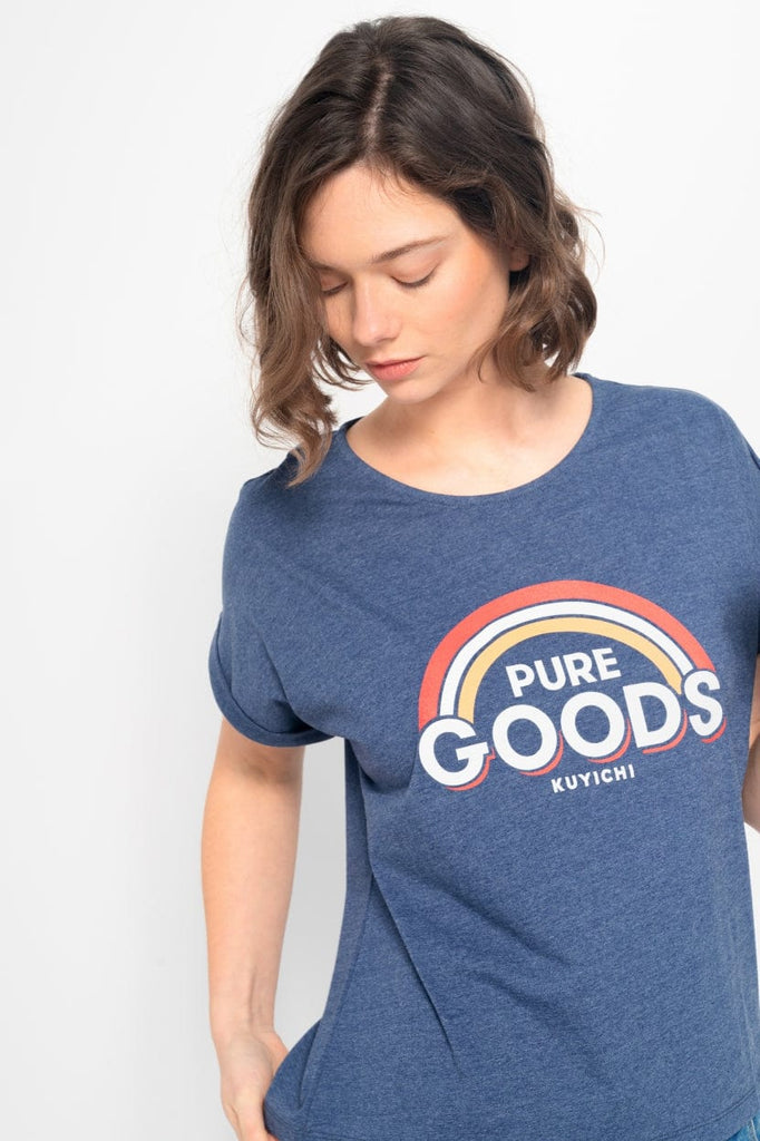 Bella Printed Tee | Royal Blue - Kuyichi Pure Goods | Organic Style Conscious Denim | Official Website