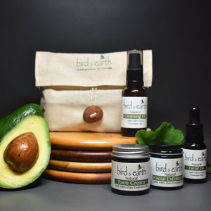 NEST PLUS - Up to 2 months of skincare products that are Natural, Handcrafted & blended with Essential Oils. Nestled within a hand sewn bag featuring an Avocado Seed button. PLUS Cleansing Oil 30ml - Bird and Earth