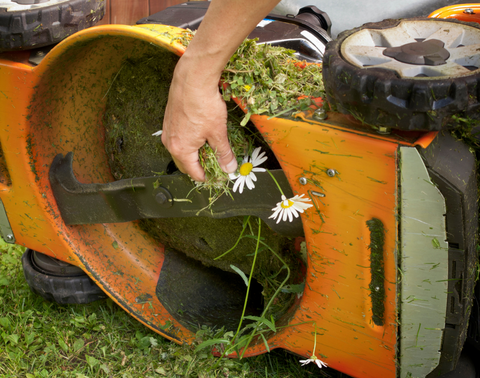 Cleaning undercarriage of mower