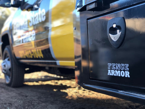 Fence Armor Transfer Sticker on truck