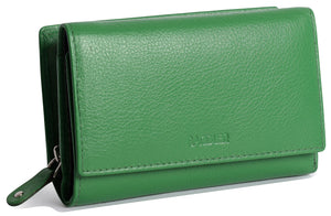 ELEANOR Womens Leather Trifold Wallet Clutch with Zipper Coin Purse | Gift Boxed SADDL-2051 - SADDLER ACCESSORIES