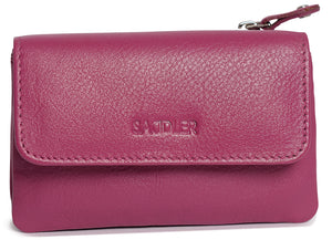 LILY Womens Leather Flapover Coin Purse with Zip | Small Pouch | Gift boxed SADDL-2061 - SADDLER ACCESSORIES