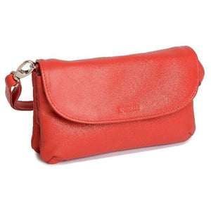 AUDREY Real Leather Slim Cross Body Purse Clutch with Detachable Strap | Ladies Sling Bag - SADDLER ACCESSORIES