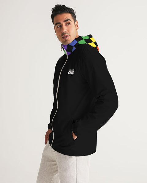 Multi-Color Checker Men's Windbreaker