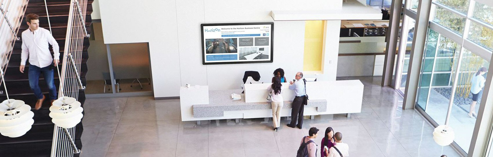 School reception area sedao digital dignage screen