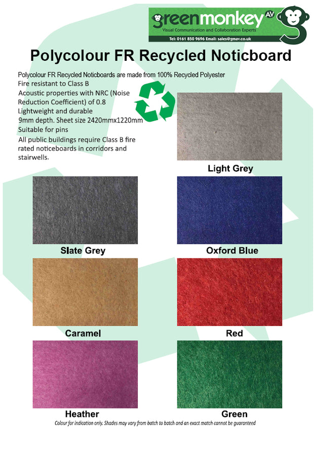 Unframed Polycolour FR Recycled Noticboard - Swatch Card