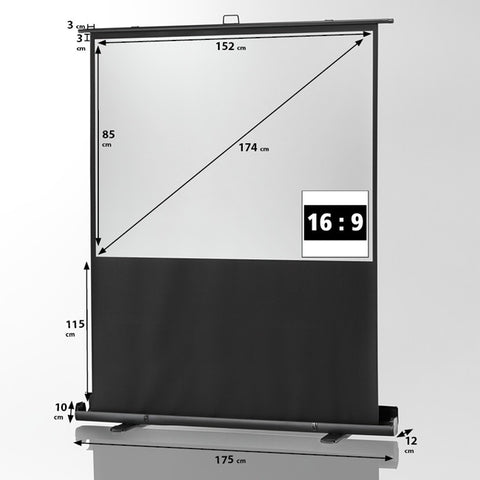 "Celexon Mobile Professional Plus Pull Up Screen (16:9) 1.6m 69"" - Size"