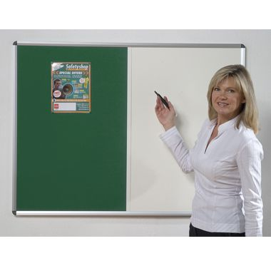 Combination noticeboard - Pinable Felt/ Whiteboard GREEN