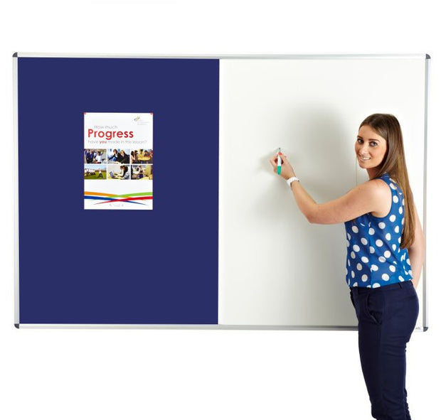 Combination noticeboard - Pinable Felt/ Whiteboard BLUE