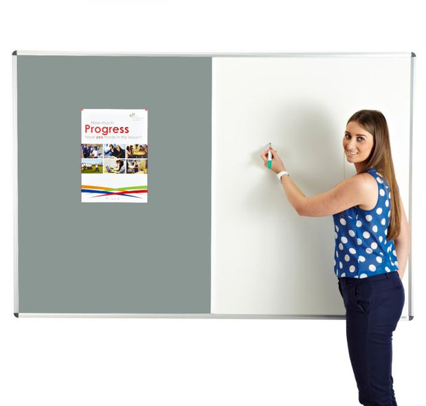 Combination noticeboard - Pinable Felt/ Whiteboard GREY