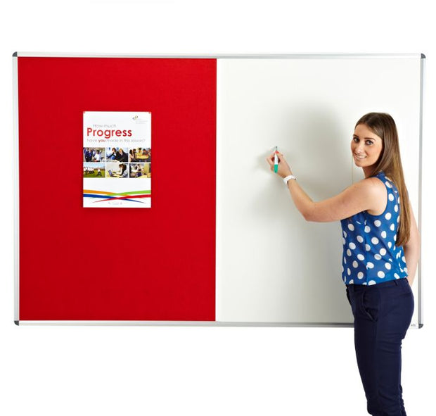 Combination noticeboard - Pinable Felt/ Whiteboard RED