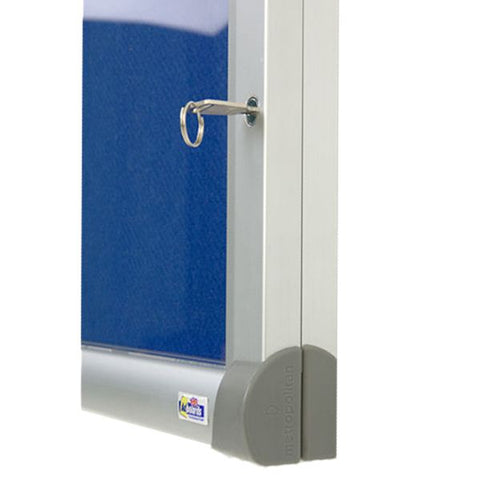 Tamperproof Antibacterial Noticeboard frame close up locked